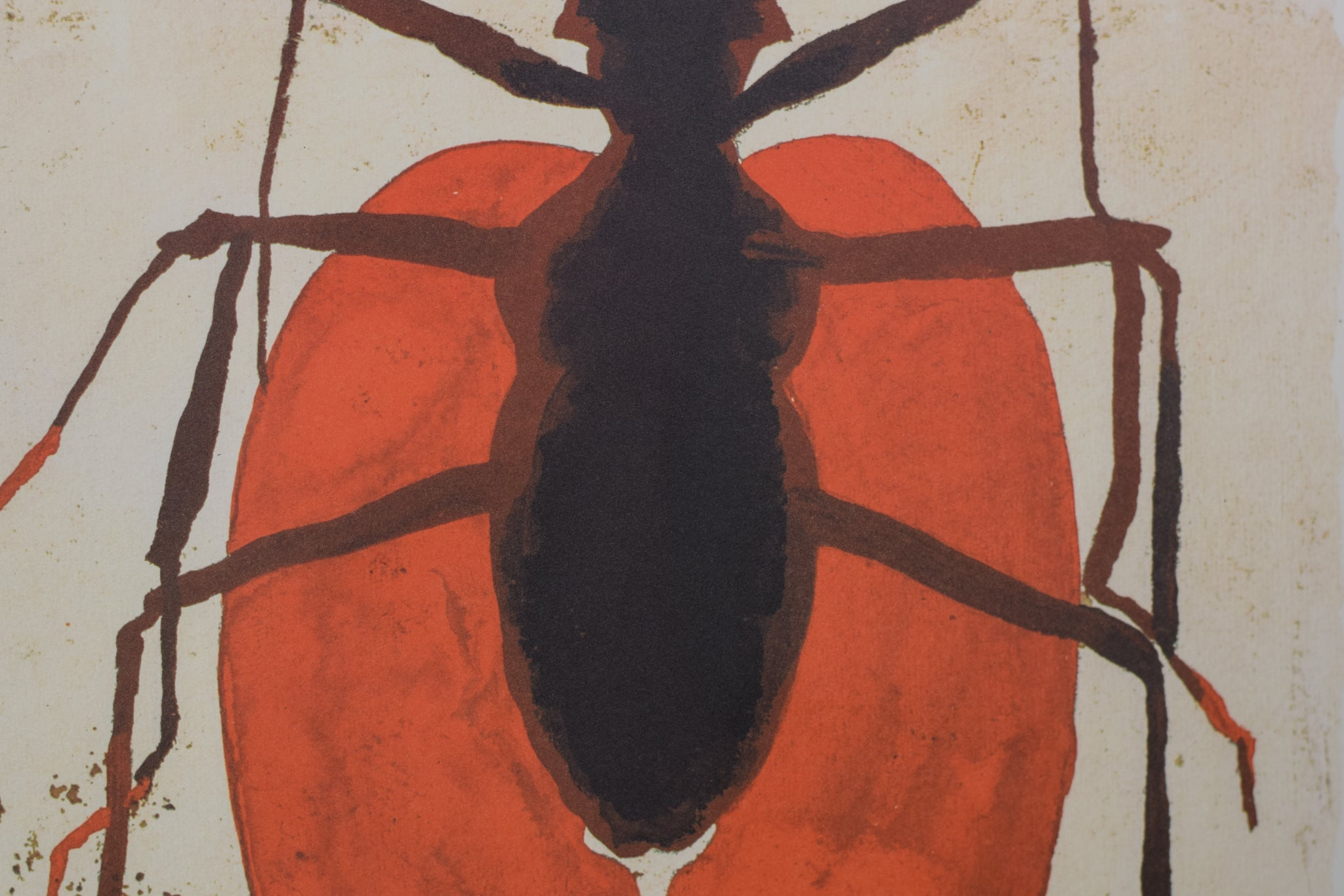 Queen Ant Lithograph in Red and Black_Detail 2