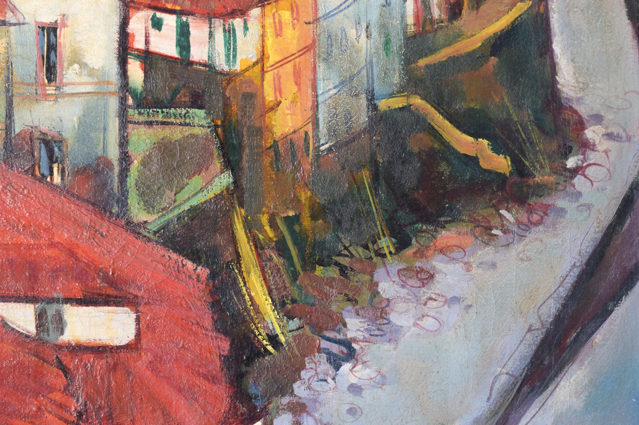 Post-Impressionist style painting of Red Roofs in Northern Spain_Detail 2