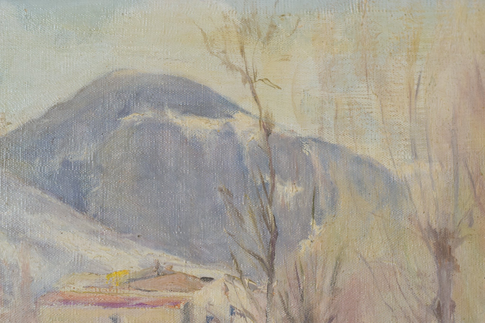 Impressionist Snowscape With Trees, Mountains and Village_Detail