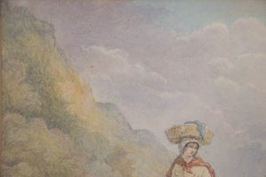 Pastoral scene with Woman and Dog_Detail 3
