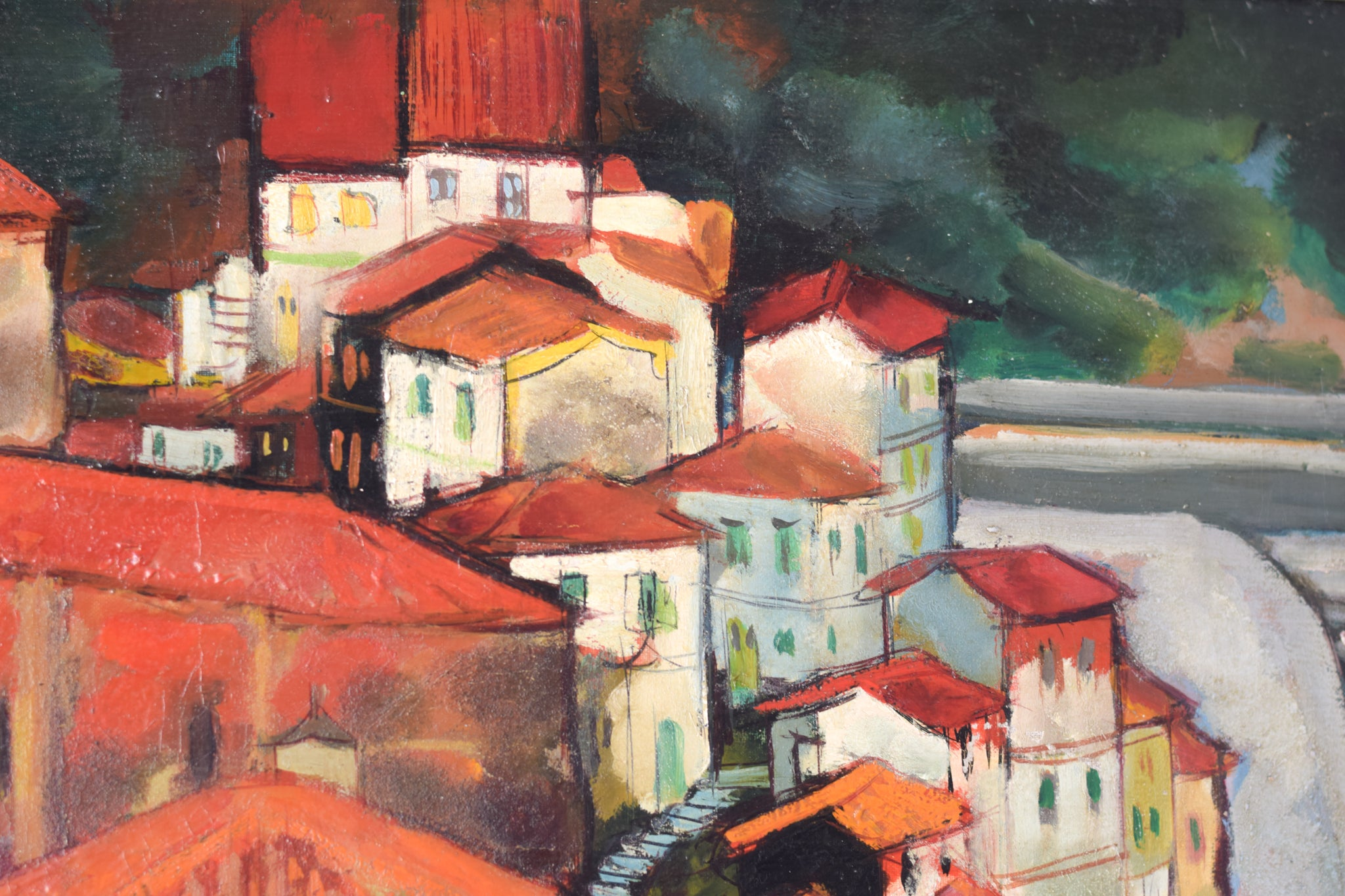 Post-Impressionist style painting of Red Roofs in Northern Spain_Detail