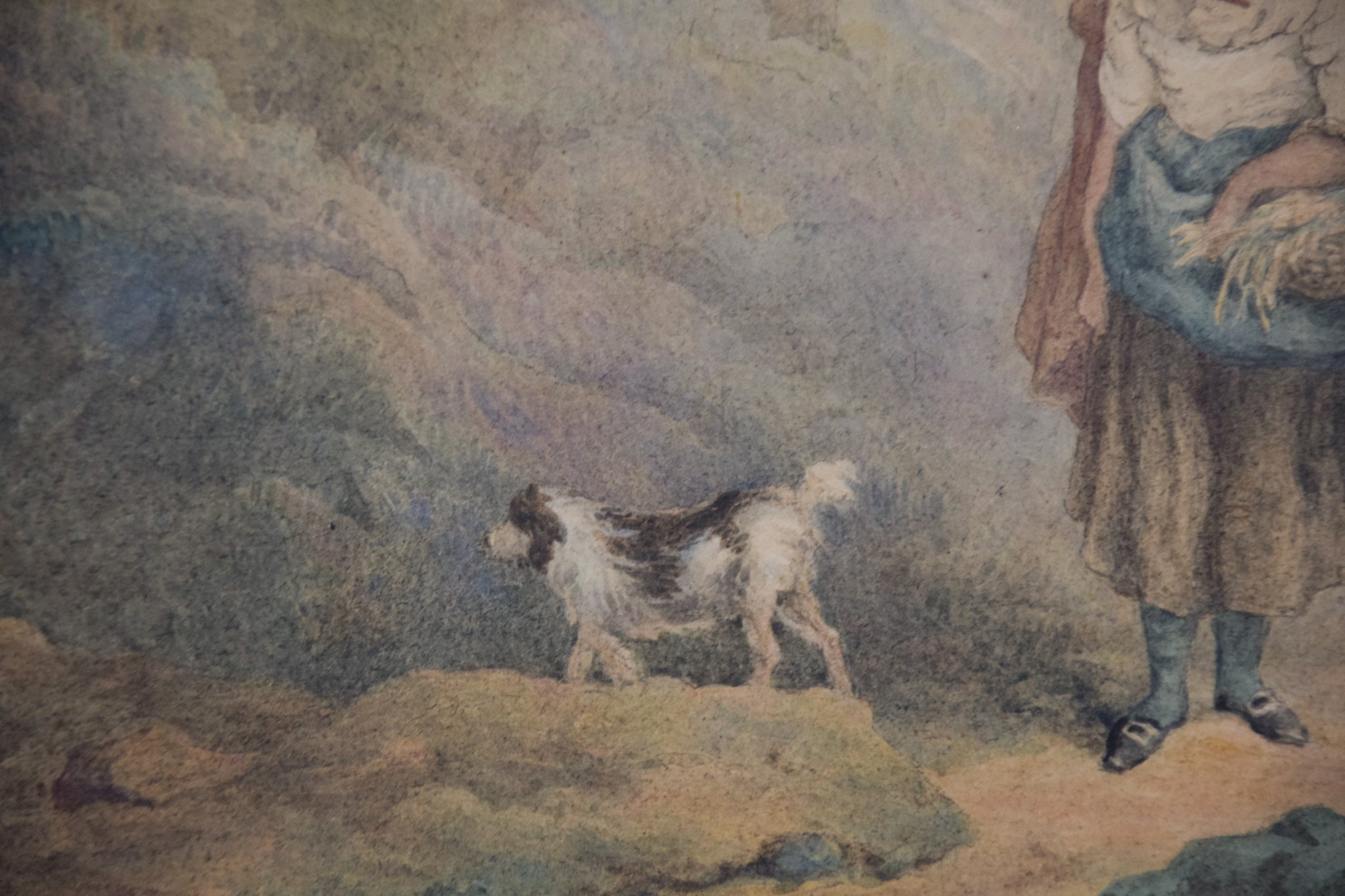 Pastoral scene with Woman and Dog_Detail 2