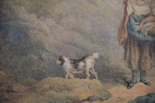 Load image into Gallery viewer, Pastoral scene with Woman and Dog_Detail 2