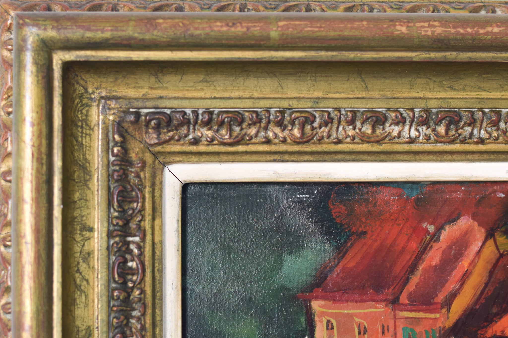 Post-Impressionist style painting of Red Roofs in Northern Spain_Framed 2