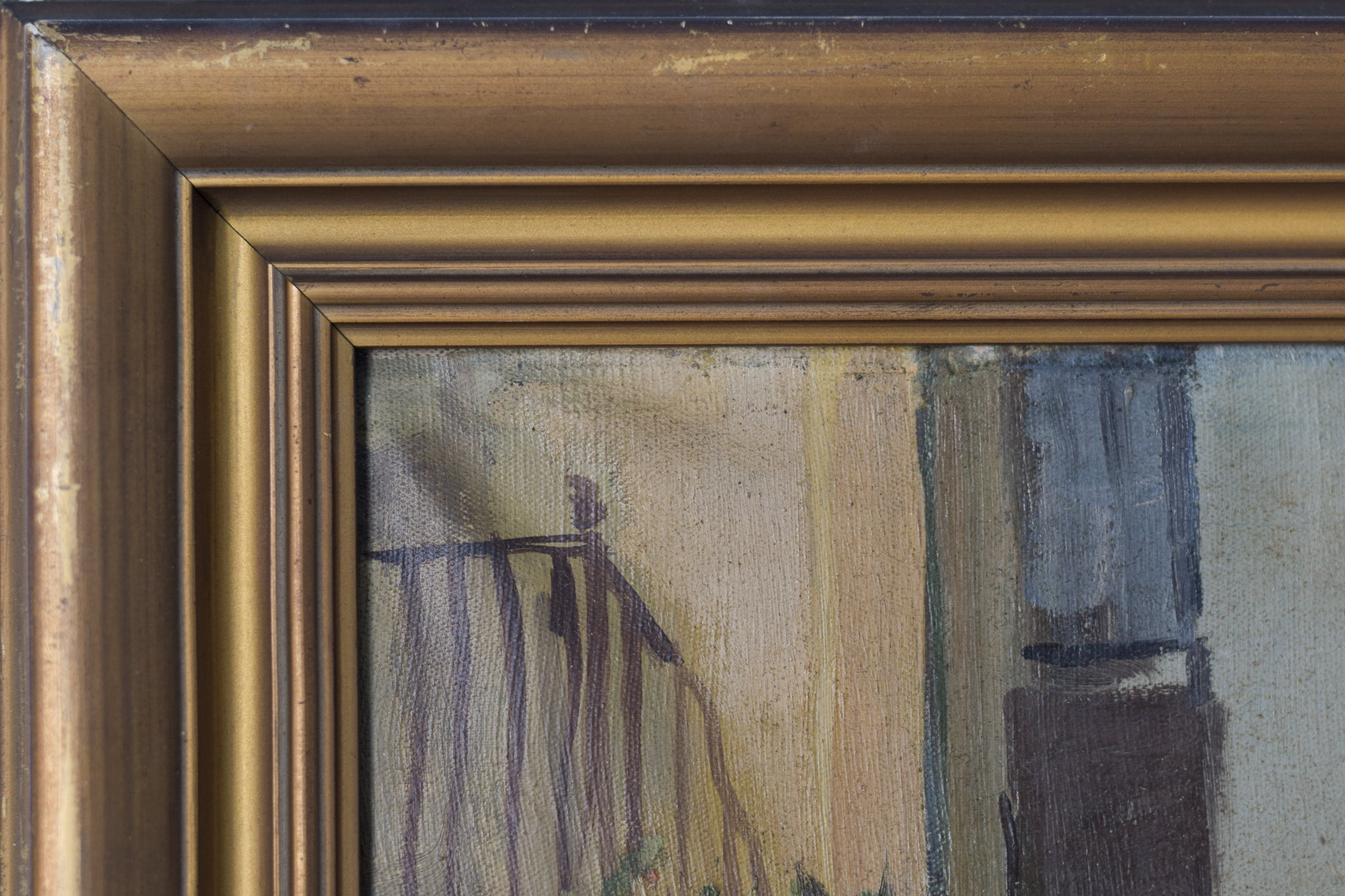Post-Impressionist Style Painting of Barcelona Old Town_Frame detail