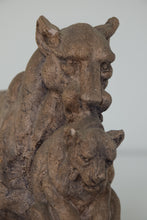 Load image into Gallery viewer, Clay Sculpture of a Lioness and her Cub_Detail
