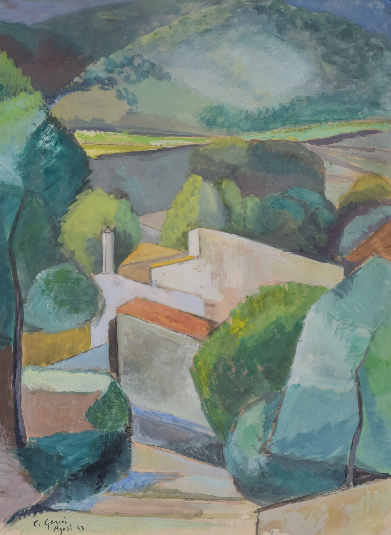 Cubist Village in a Mountain Landscape