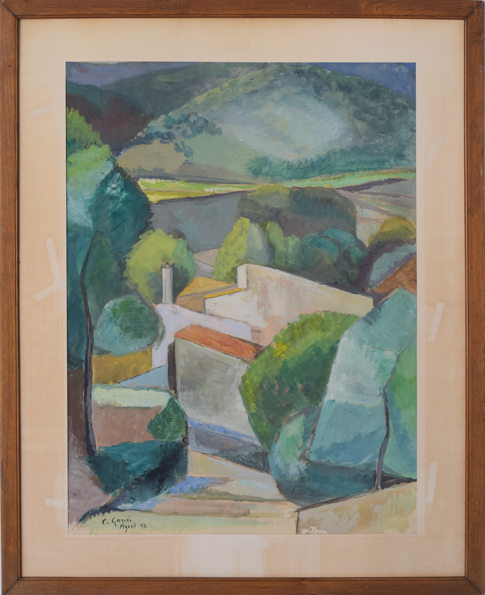 Cubist Village in a Mountain Landscape_Framed