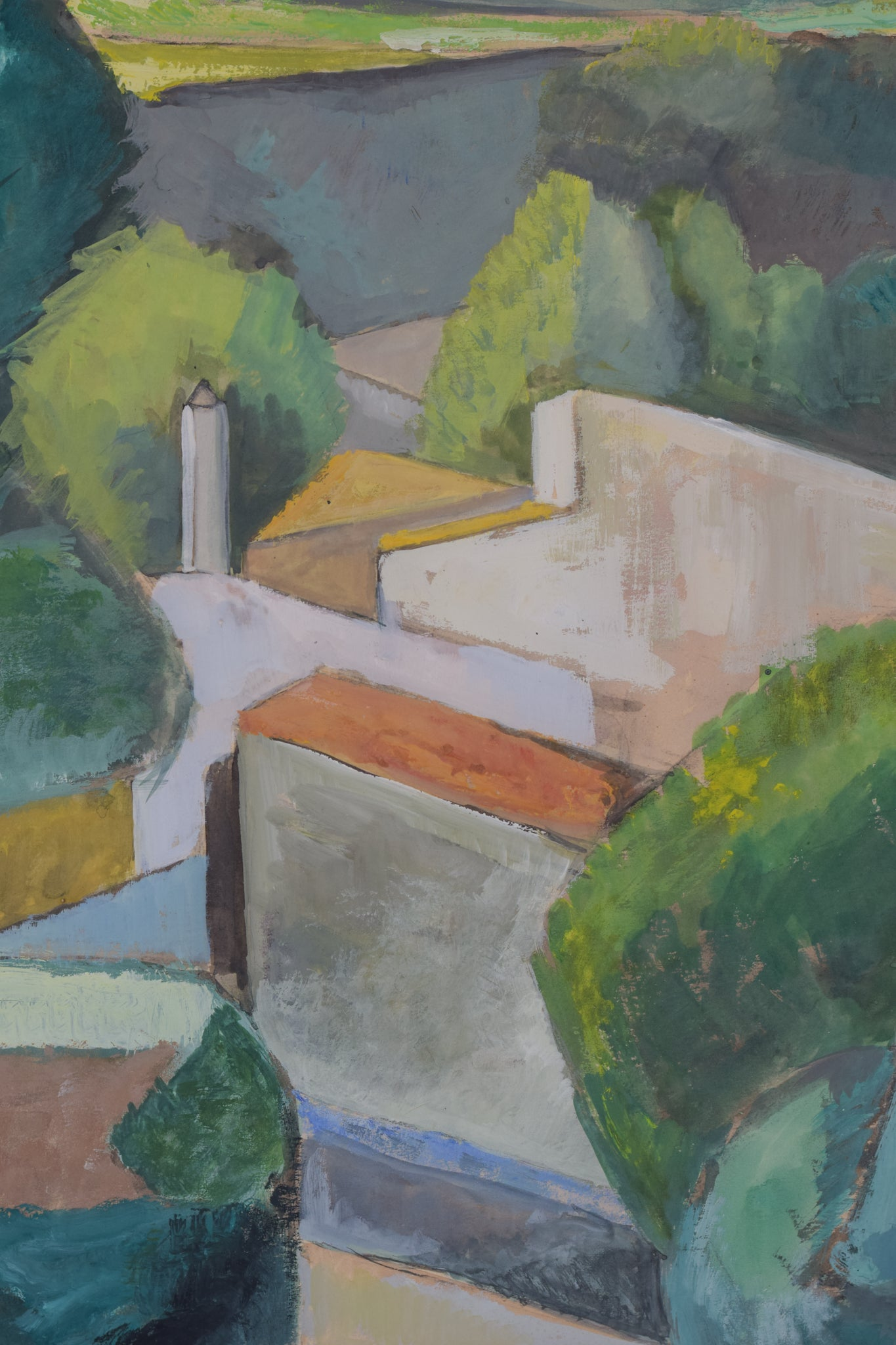 Cubist Village in a Mountain Landscape_Detail 2
