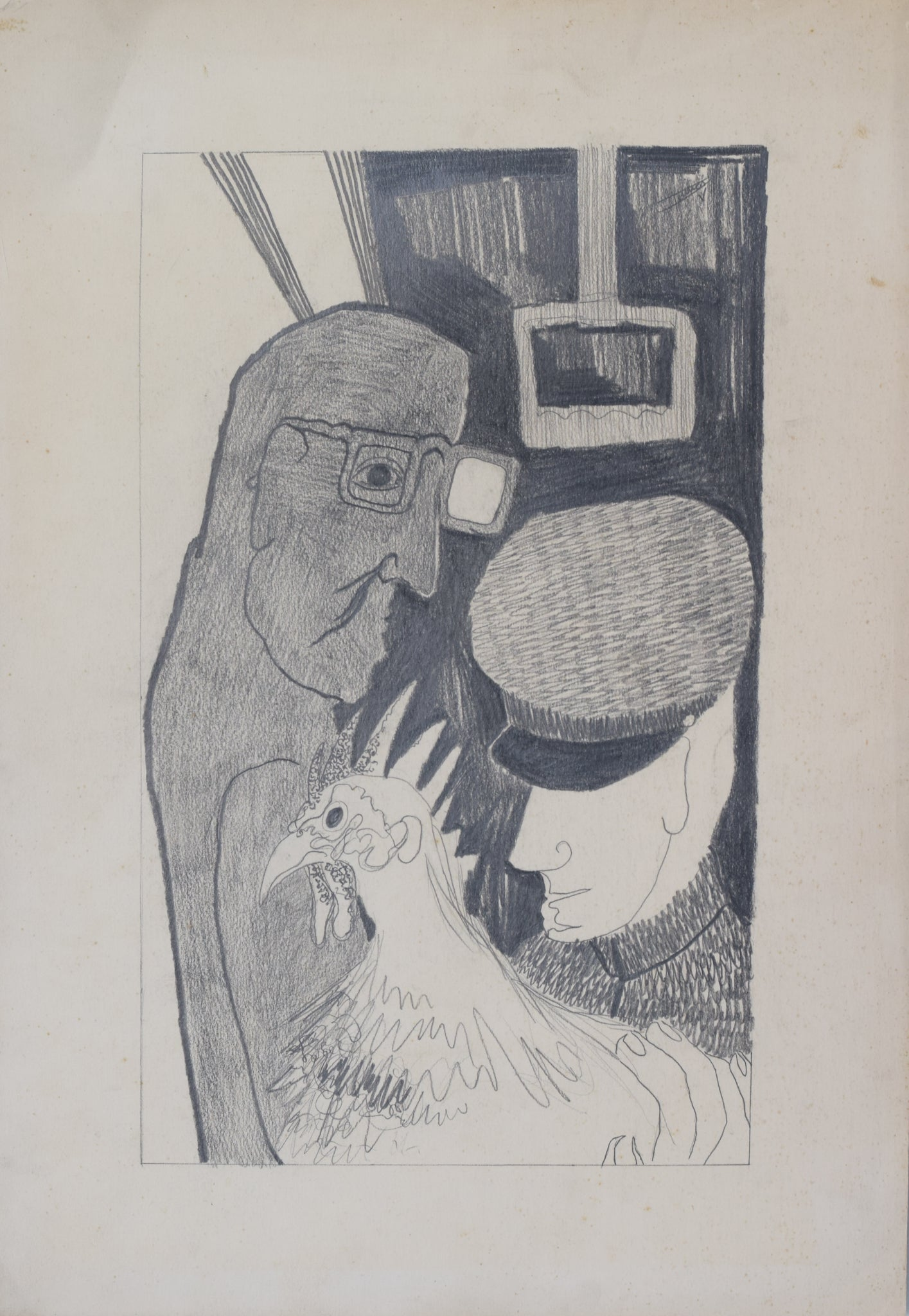Post-War Drawing of Man, Guard and Cockerel_Sheet