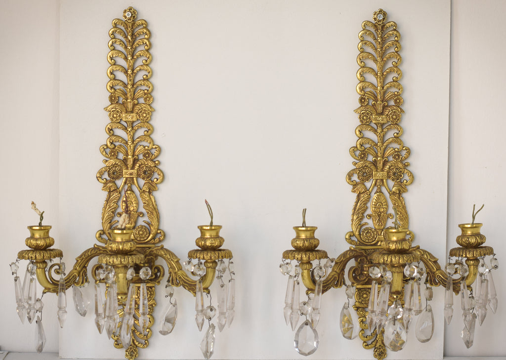 Two Golden Wall-Mounted Chandeliers