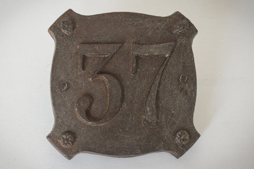 19th Century or earlier Cast Iron number pate with the number 37