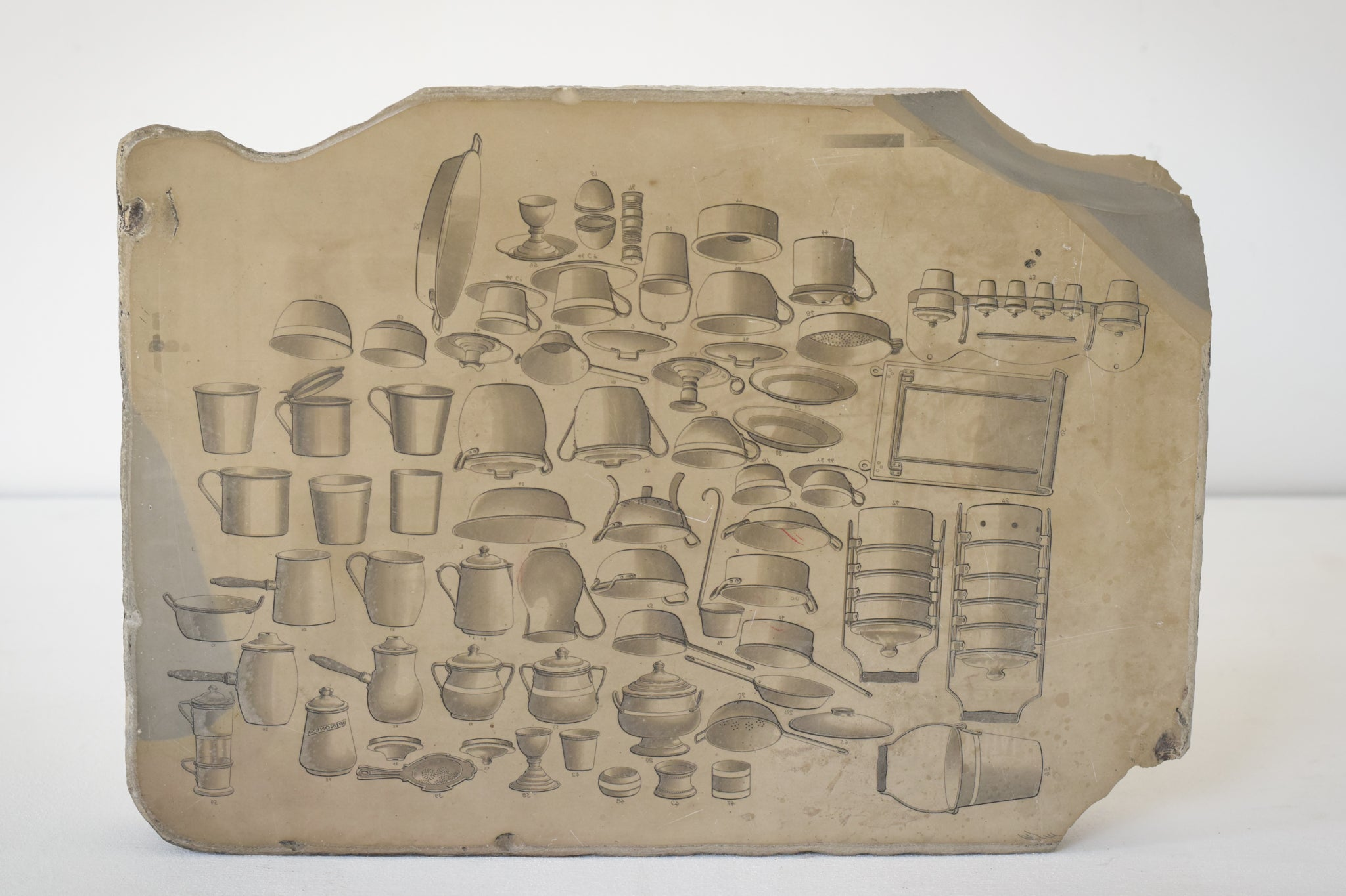 Lithographic Stone with drawings of Culinary Utensils as a design