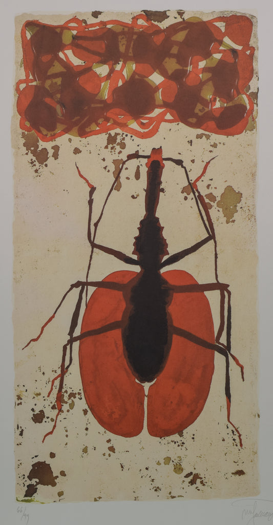 Queen Ant Lithograph in Red and Black