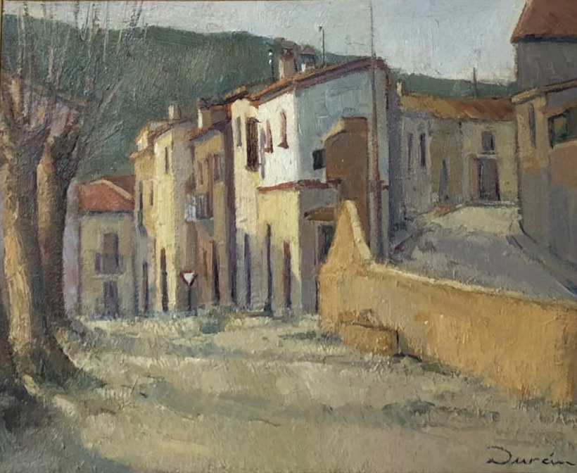Rural Street Scene, 1940-60 by Durán. Oil on Board.