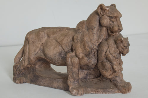 Clay Sculpture of a Lioness and her Cub