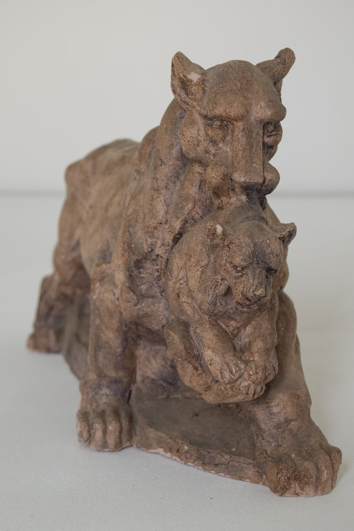 Clay Sculpture of a Lioness and her Cub_2