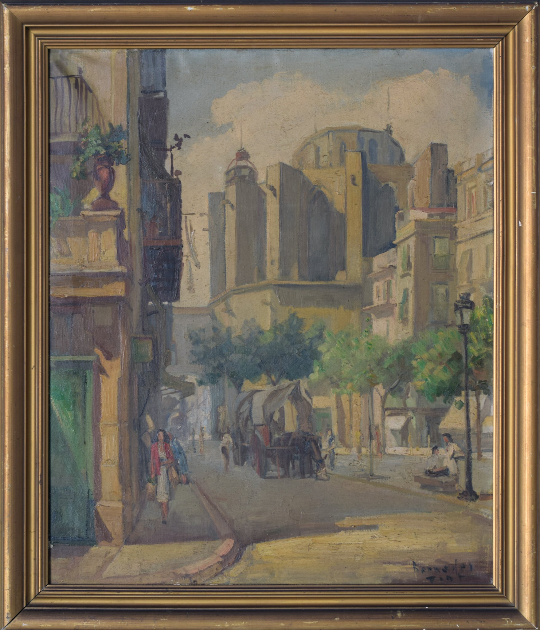 Post-Impressionist Style Painting of Barcelona Old Town_Framed