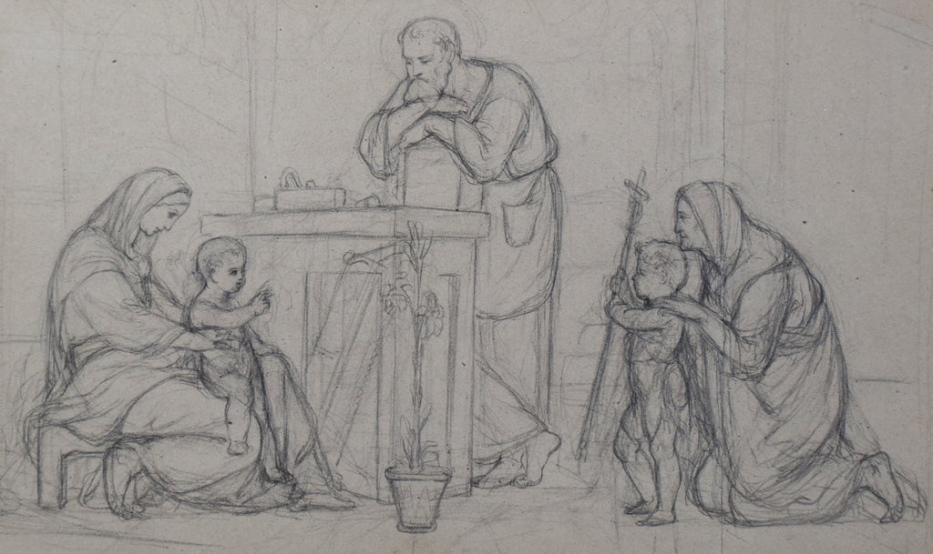 Pre-Raphaelite Drawing of the Holy Family