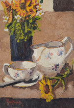 Load image into Gallery viewer, Still life with flowers, tea cup and jug