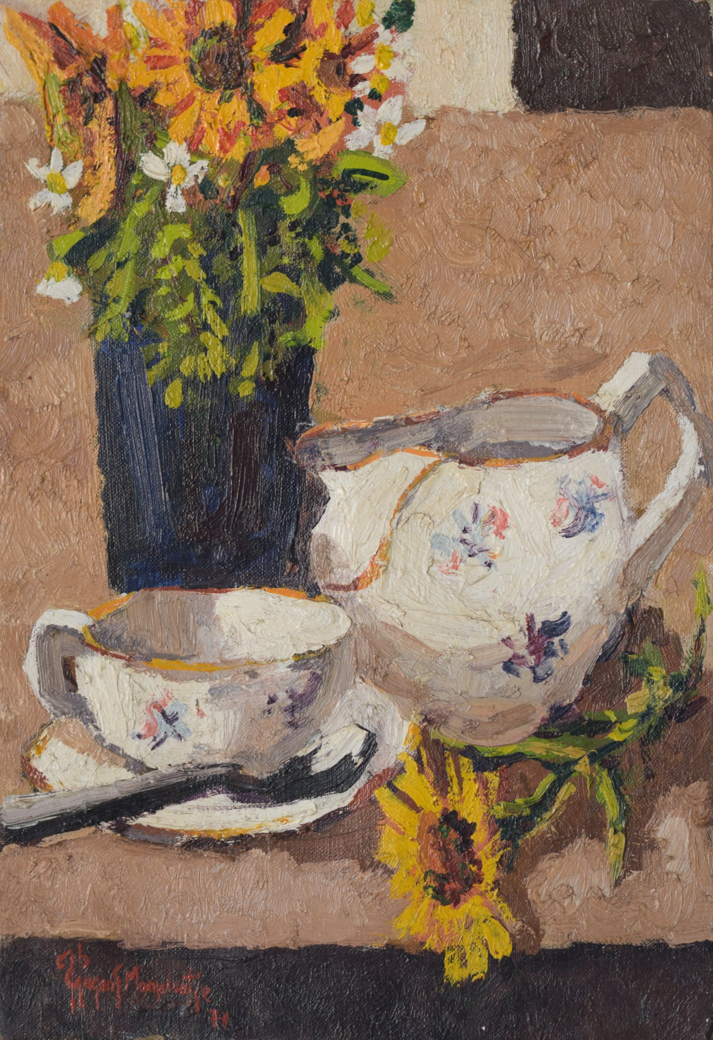 Still life with flowers, tea cup and jug