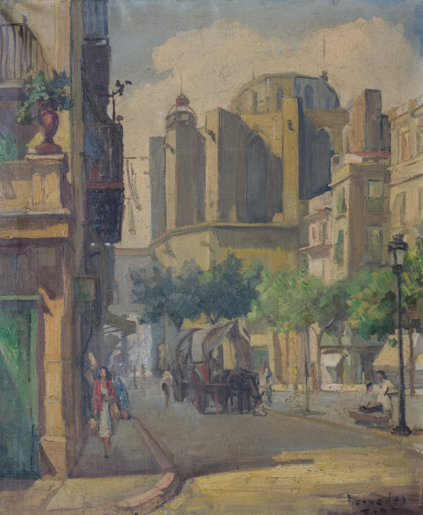 Post-Impressionist Style Painting of Barcelona Old Town