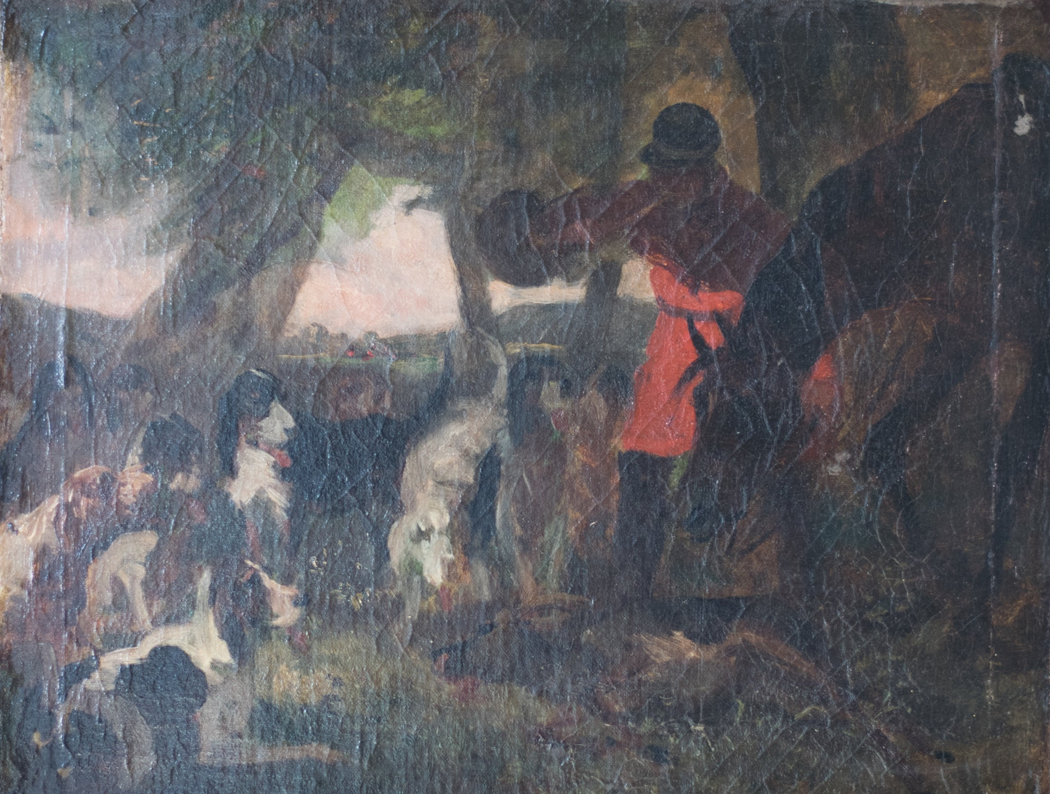 Hunting scene with horse and hounds from the 19th century. Oil on canvas