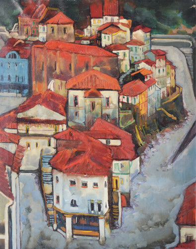 Post-Impressionist style painting of Red Roofs in Northern Spain