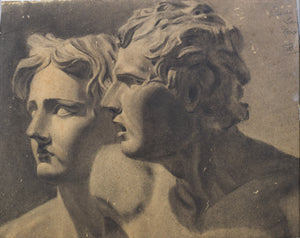 Drawing of Two Antique Sculpted Heads