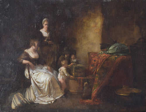 Late 18th Century Domestic scene with children feeding a bird in a cage with mother and maid.