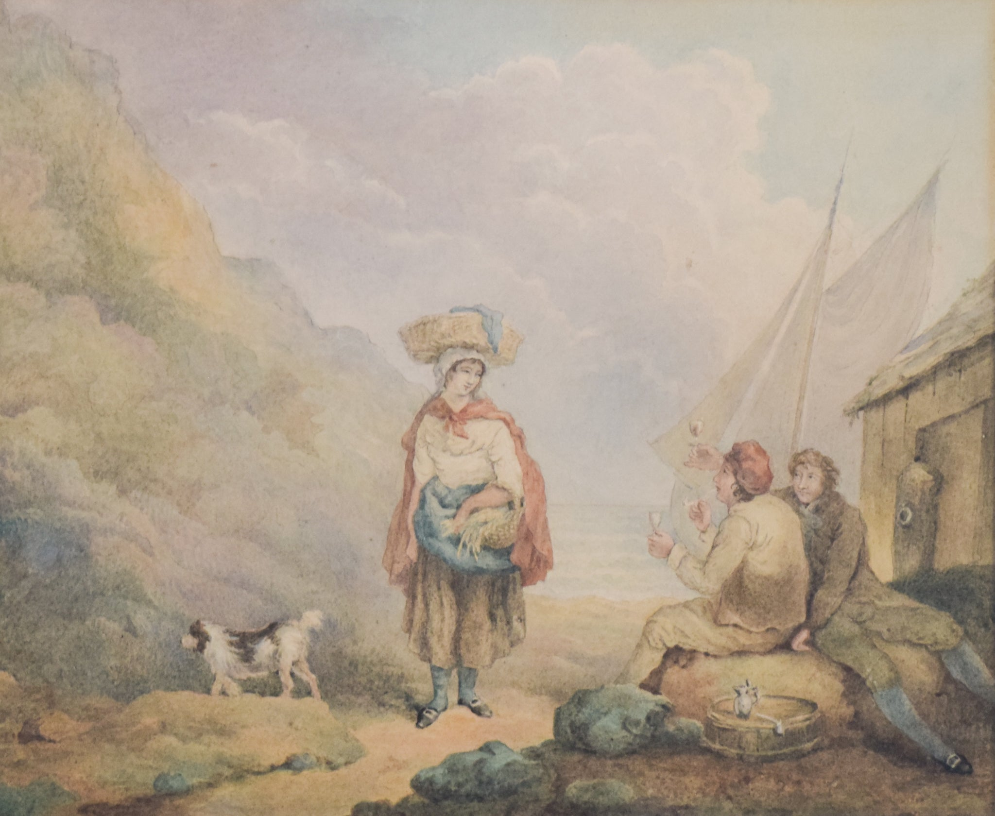 Pastoral scene with Woman and Dog