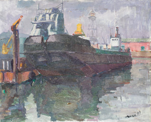 Harbour Scene with Large Tanker