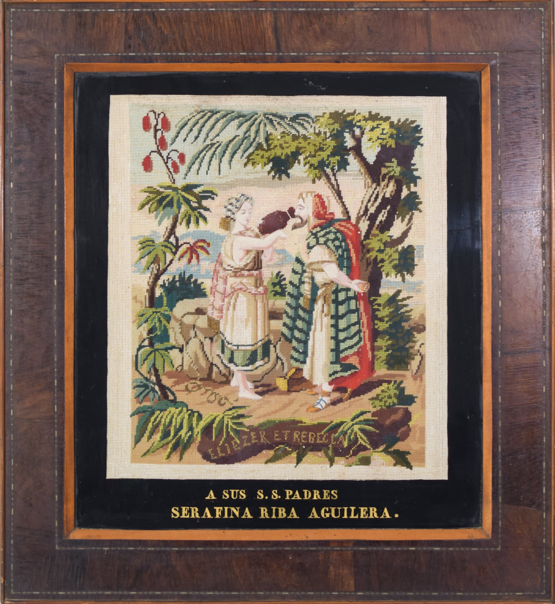 Framed embroidery 'Rebecca and Elezier at the Well'_Framed