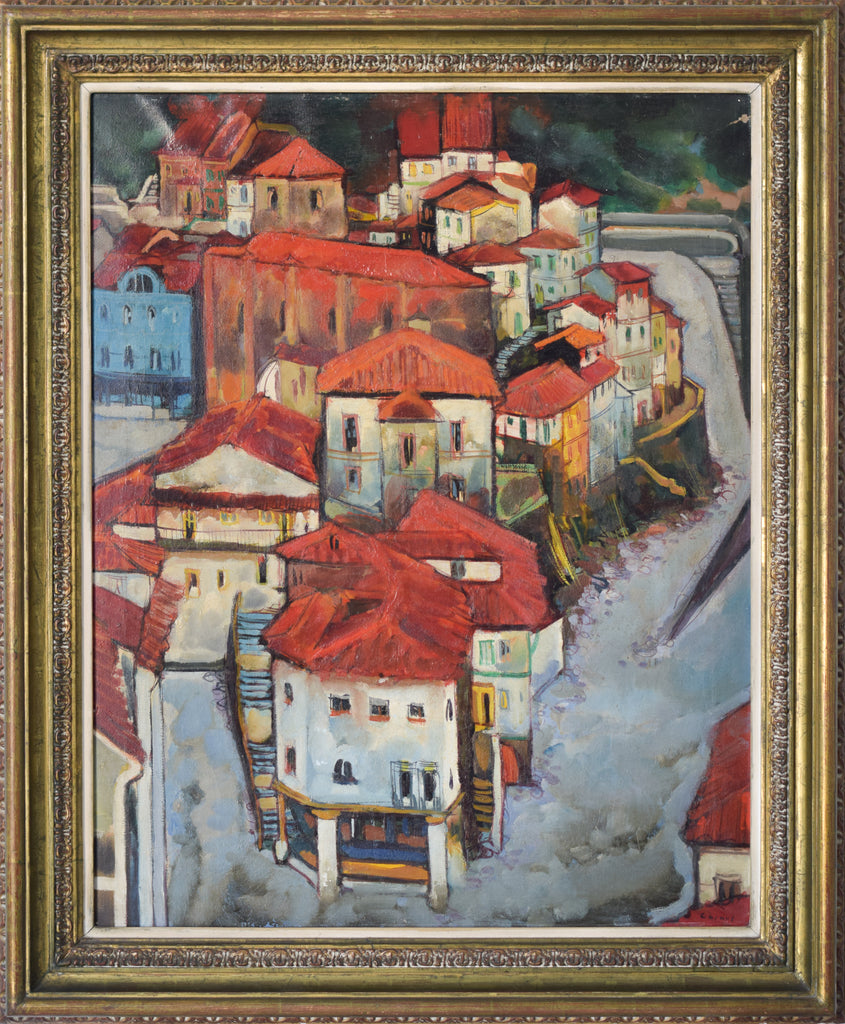 Post-Impressionist style painting of Red Roofs in Northern Spain_Framed