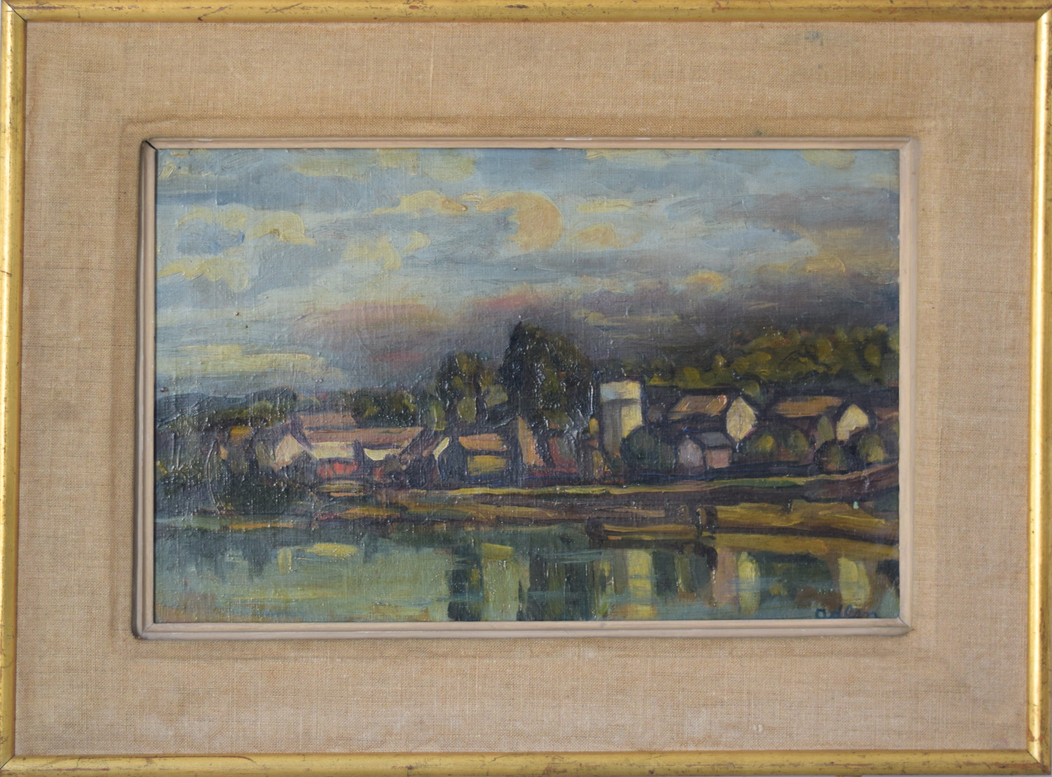 Landscape in Chaufour, France with a view of the Village and River_Framed