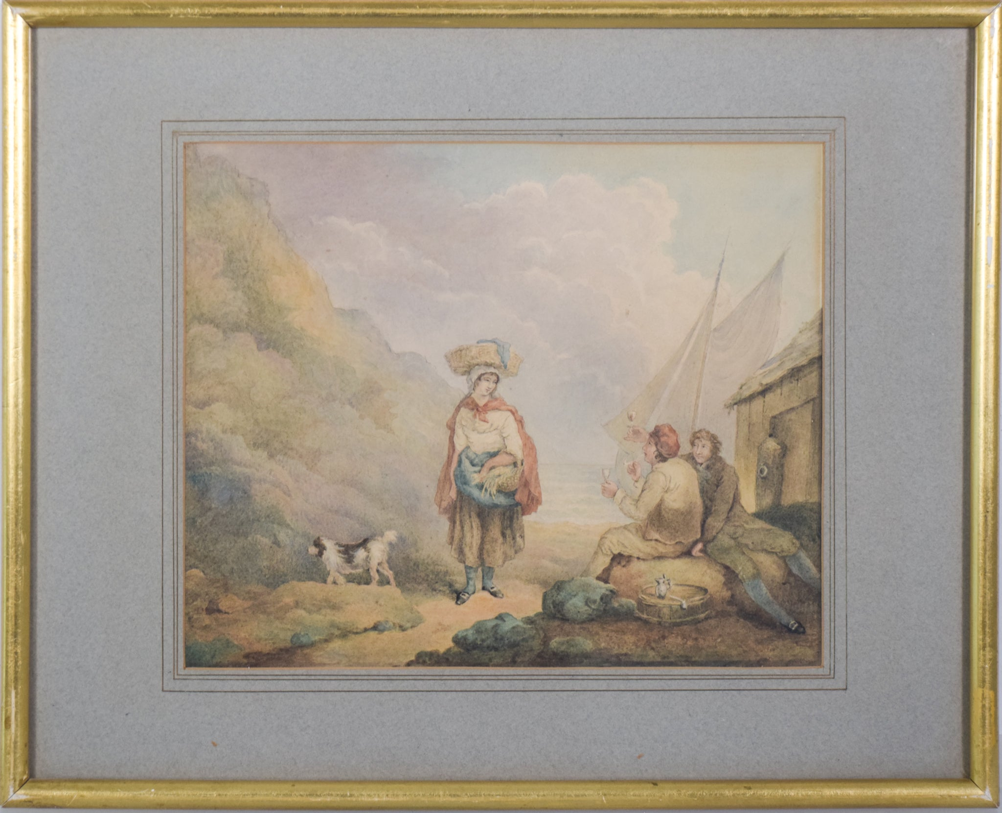 Pastoral scene with Woman and Dog_Framed