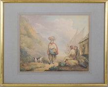 Load image into Gallery viewer, Pastoral scene with Woman and Dog_Framed