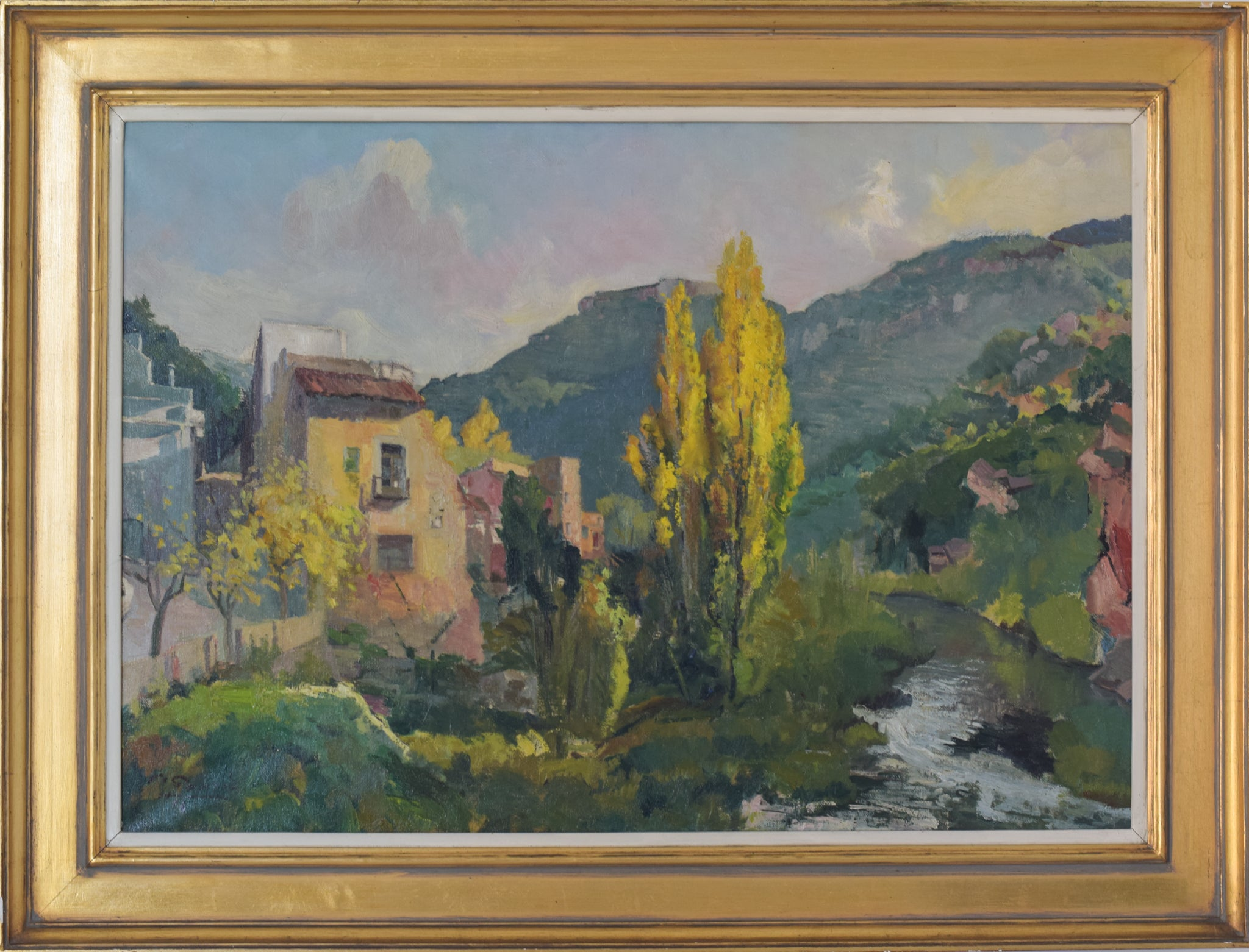 Autumn Landscape with a Riverside Village_Framed