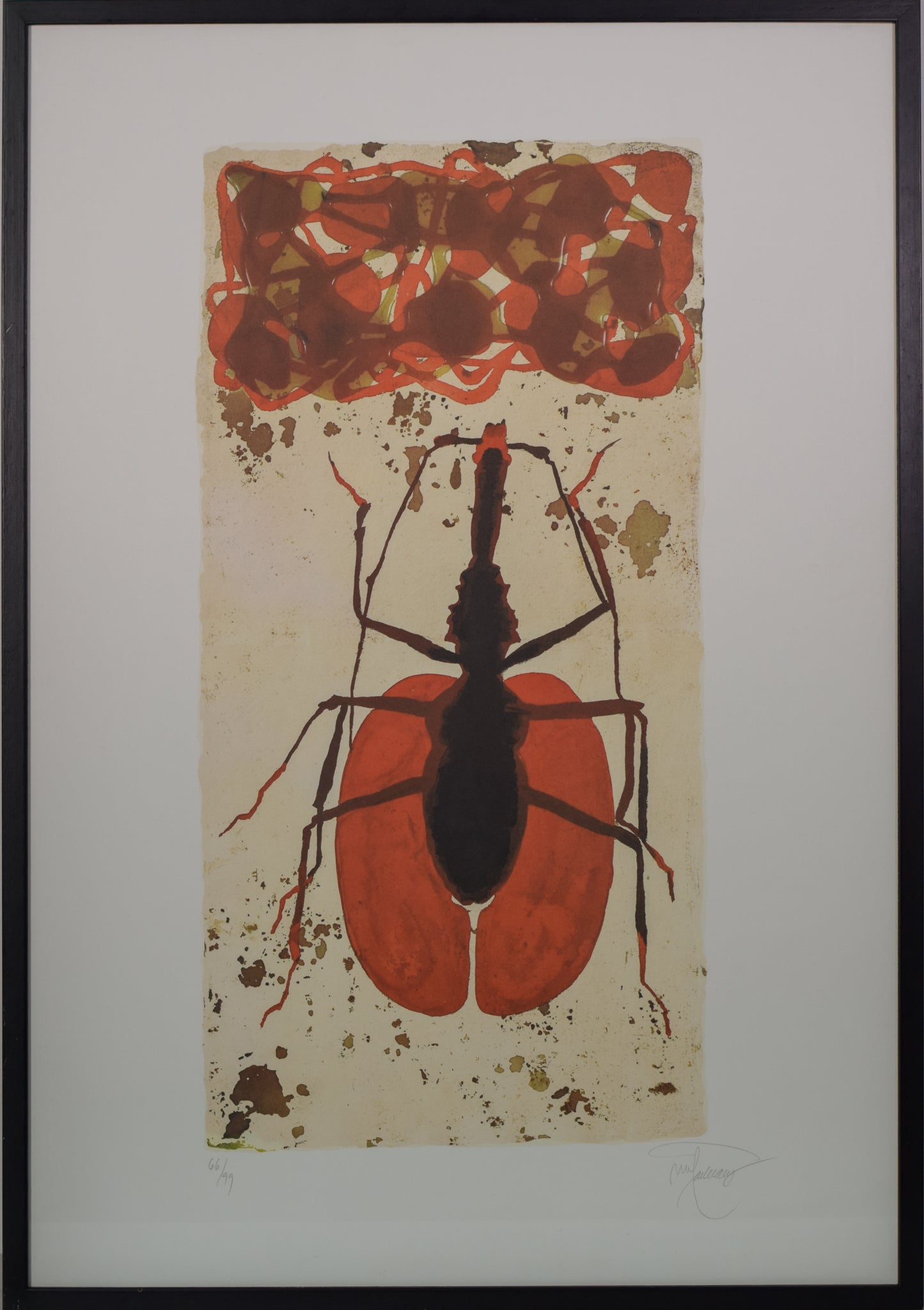 Queen Ant Lithograph in Red and Black_Framed