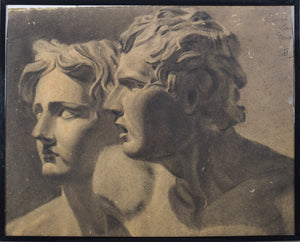 Drawing of Two Antique Sculpted Heads_Framed