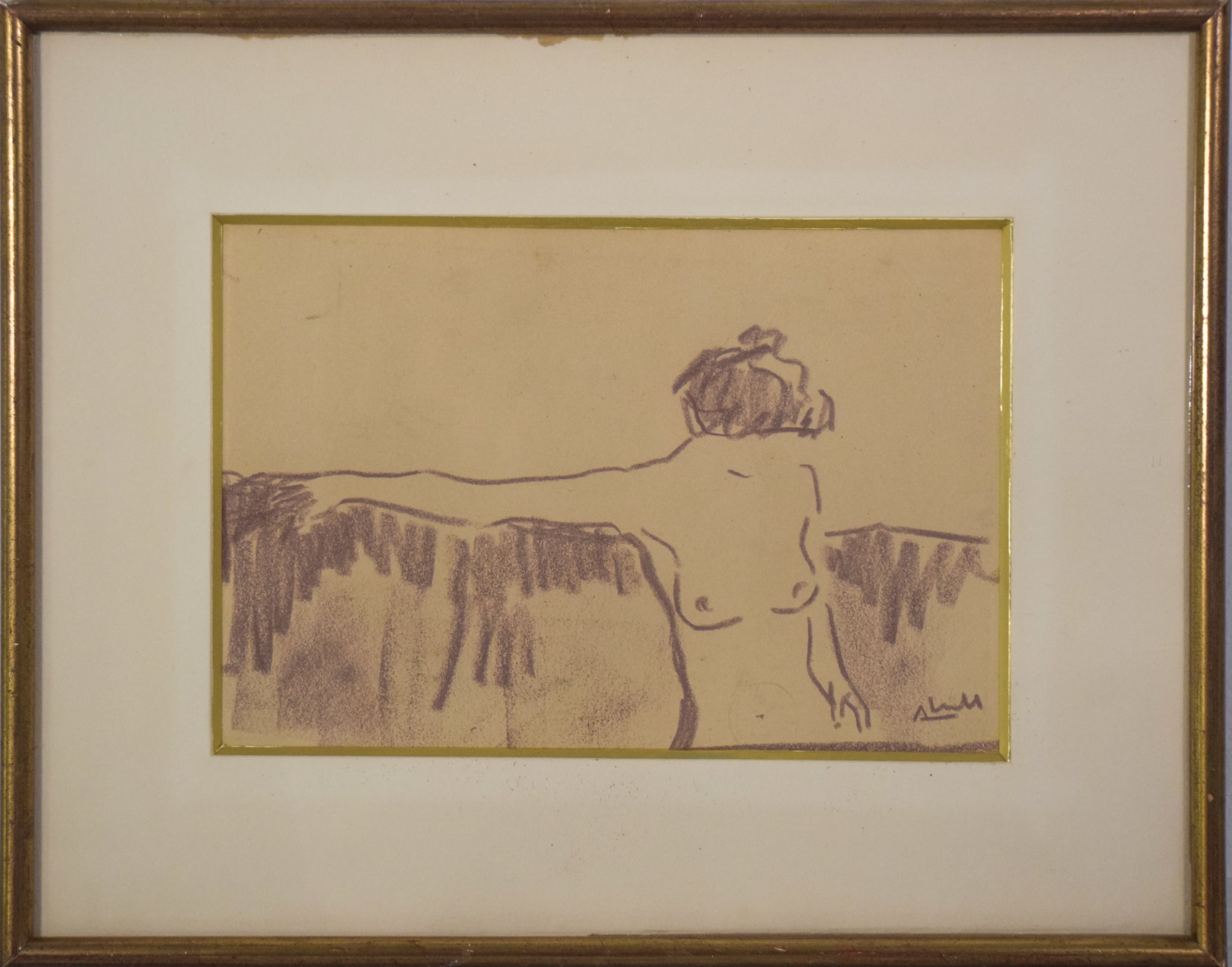 'Naked Woman Sitting' in the style of Egon Schiele_Framed