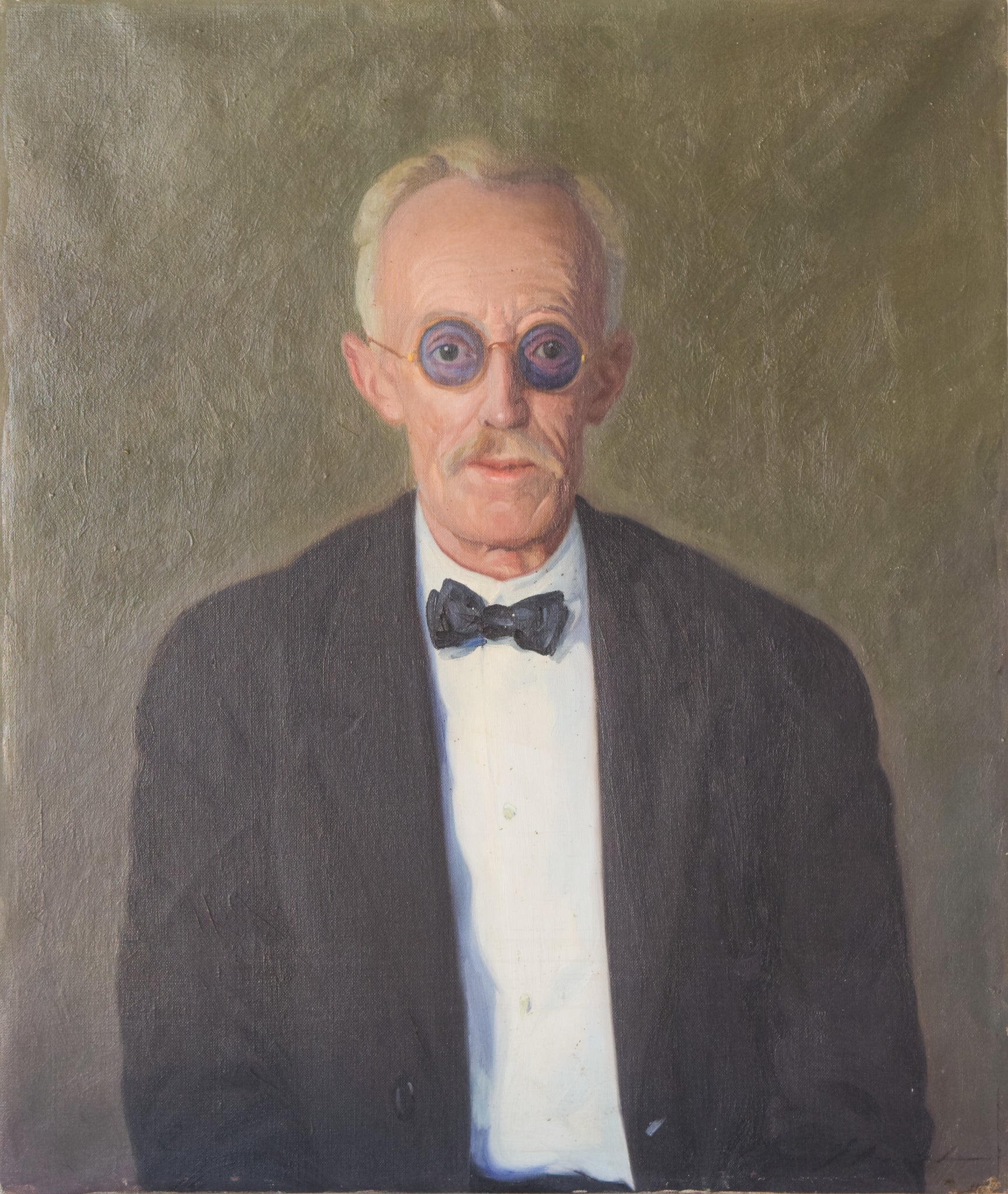 Large Portrait in Oil of an Old Man with Glasses
