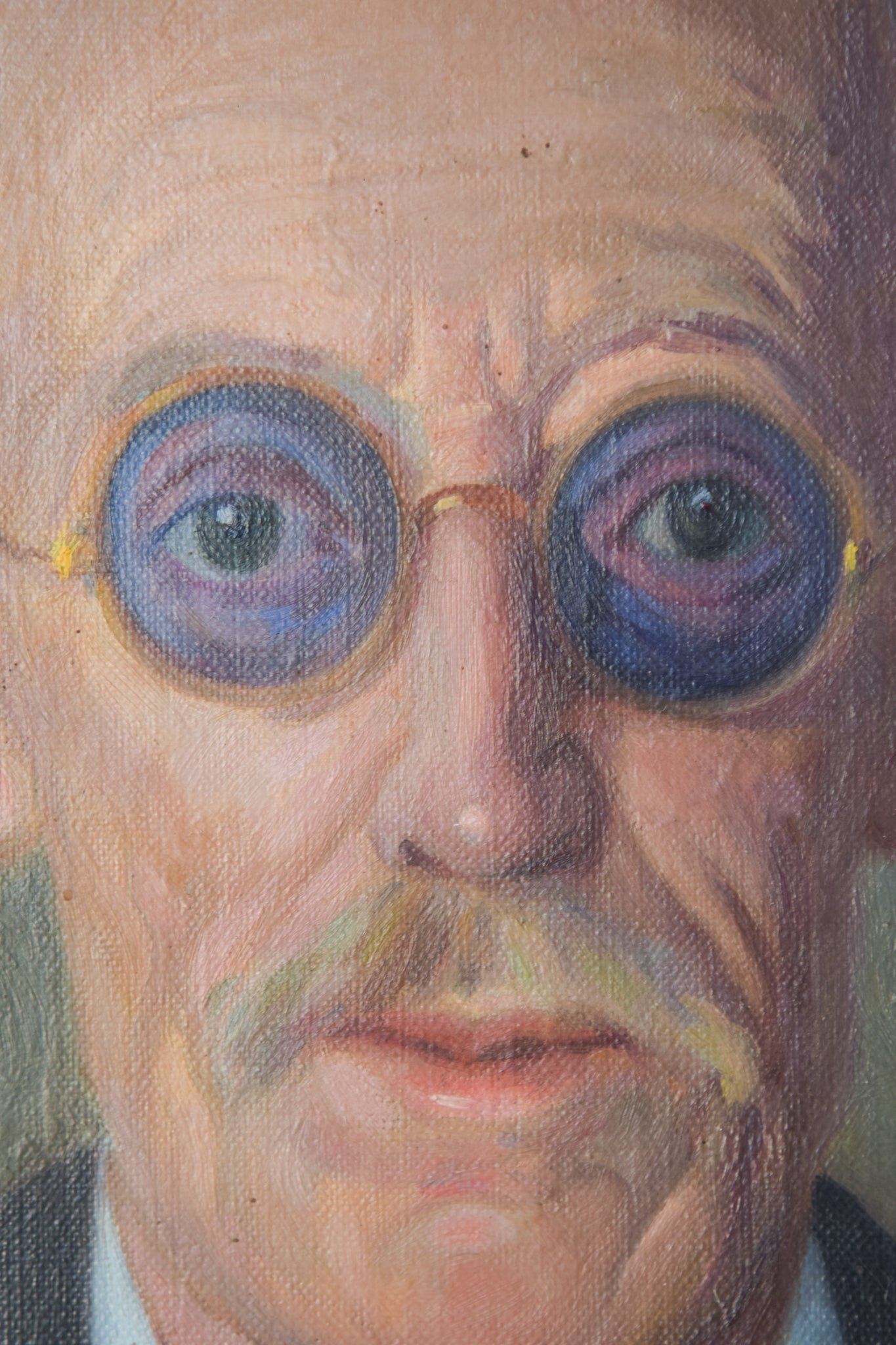 Large Portrait in Oil of an Old Man with Glasses_Detail