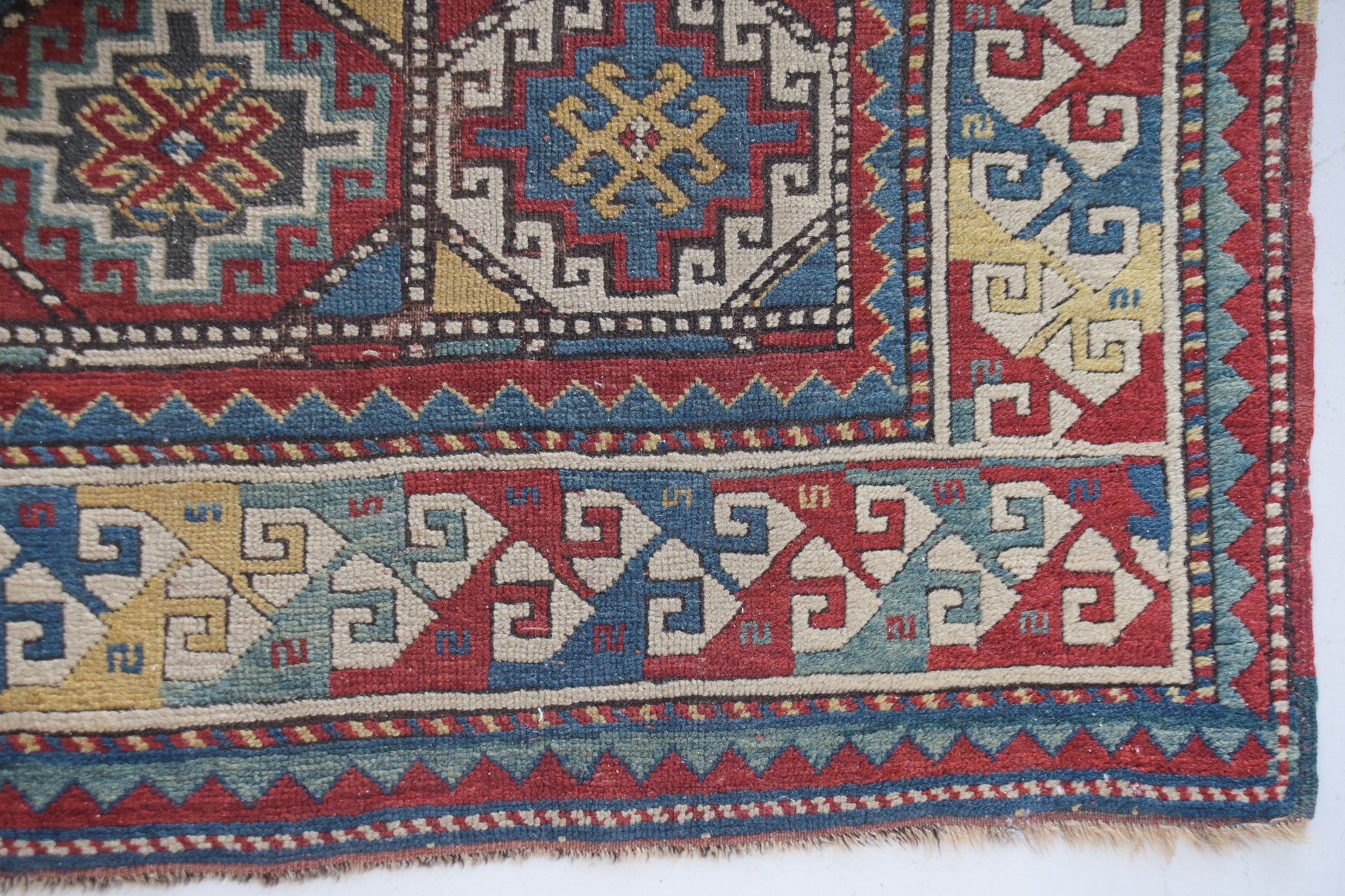 Handmade Antique Large Rug with a Geometric Design