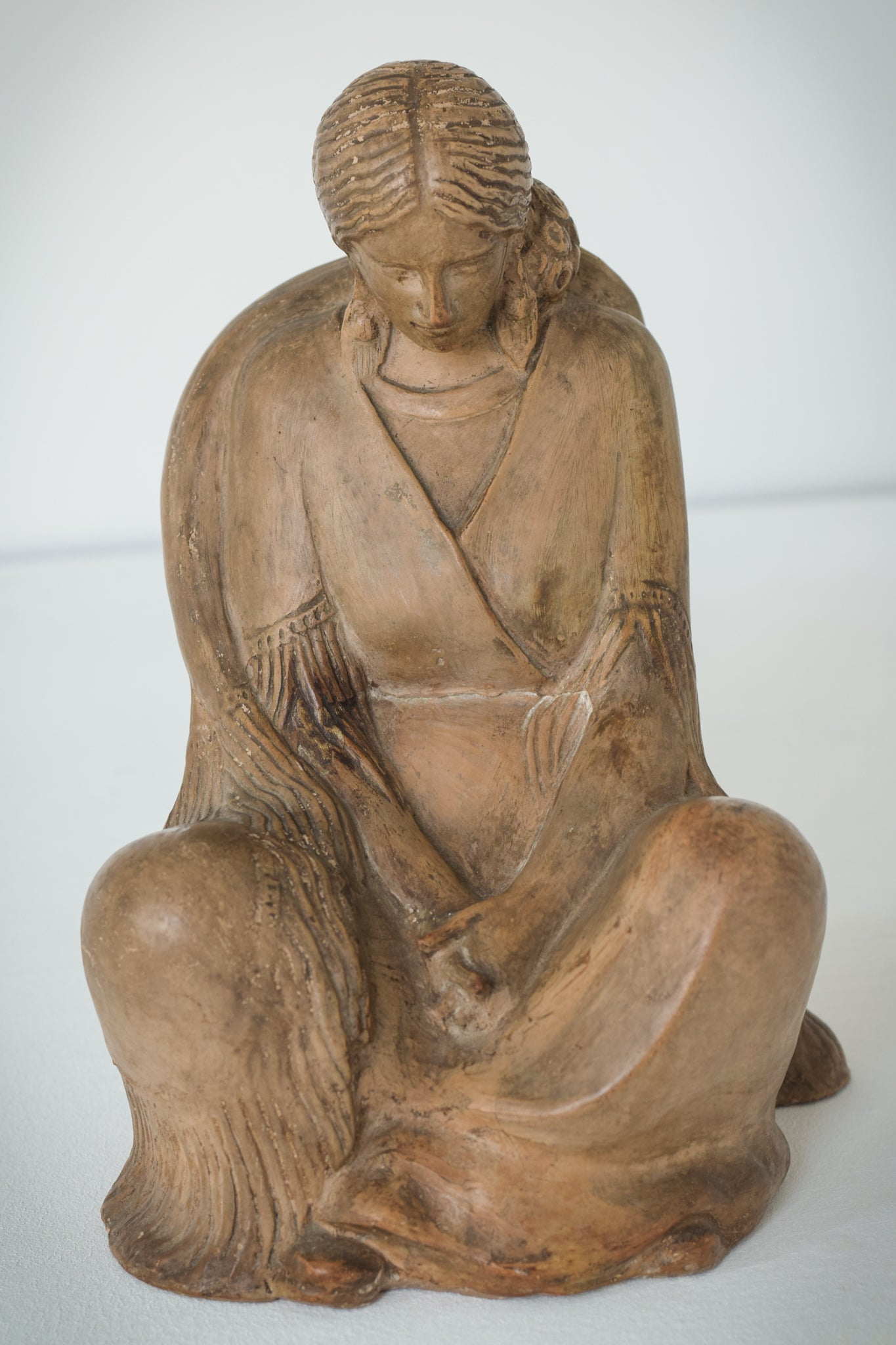 Terracotta Sculpture of A Draped Seated Woman