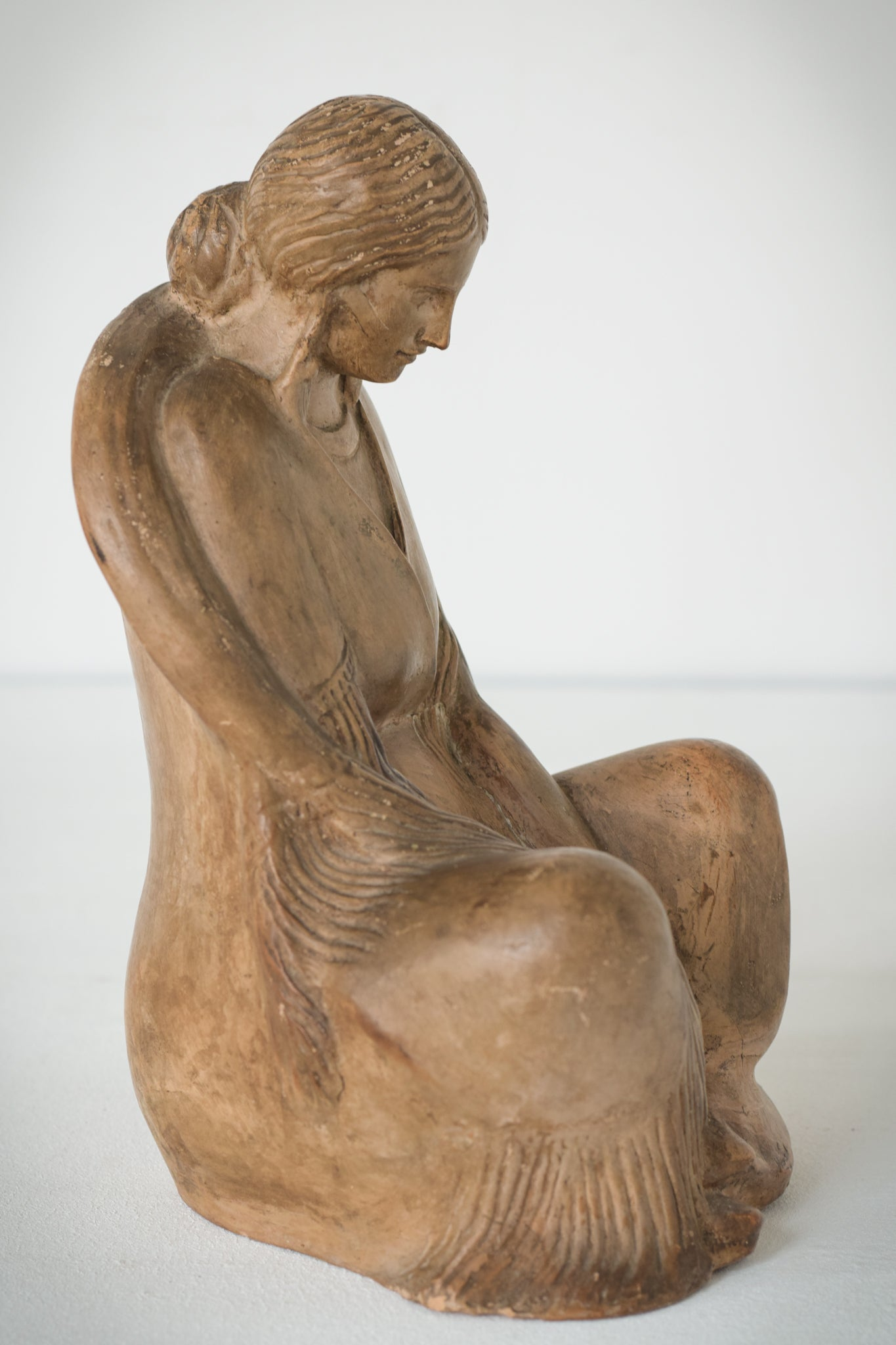 Terracotta Sculpture of A Draped Seated Woman_2