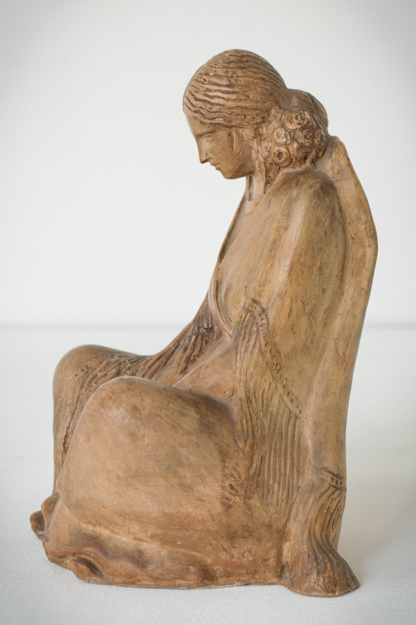 Terracotta Sculpture of A Draped Seated Woman_3