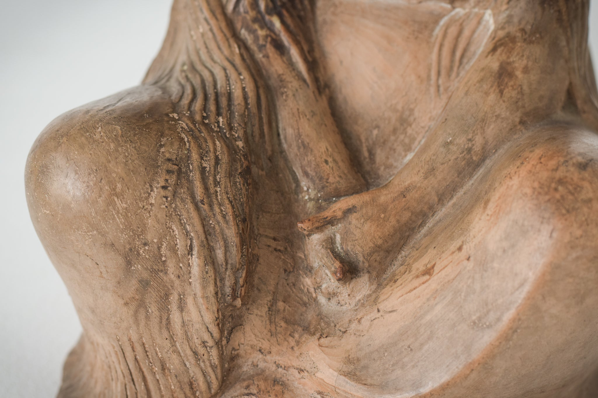 Terracotta Sculpture of A Draped Seated Woman_Hands