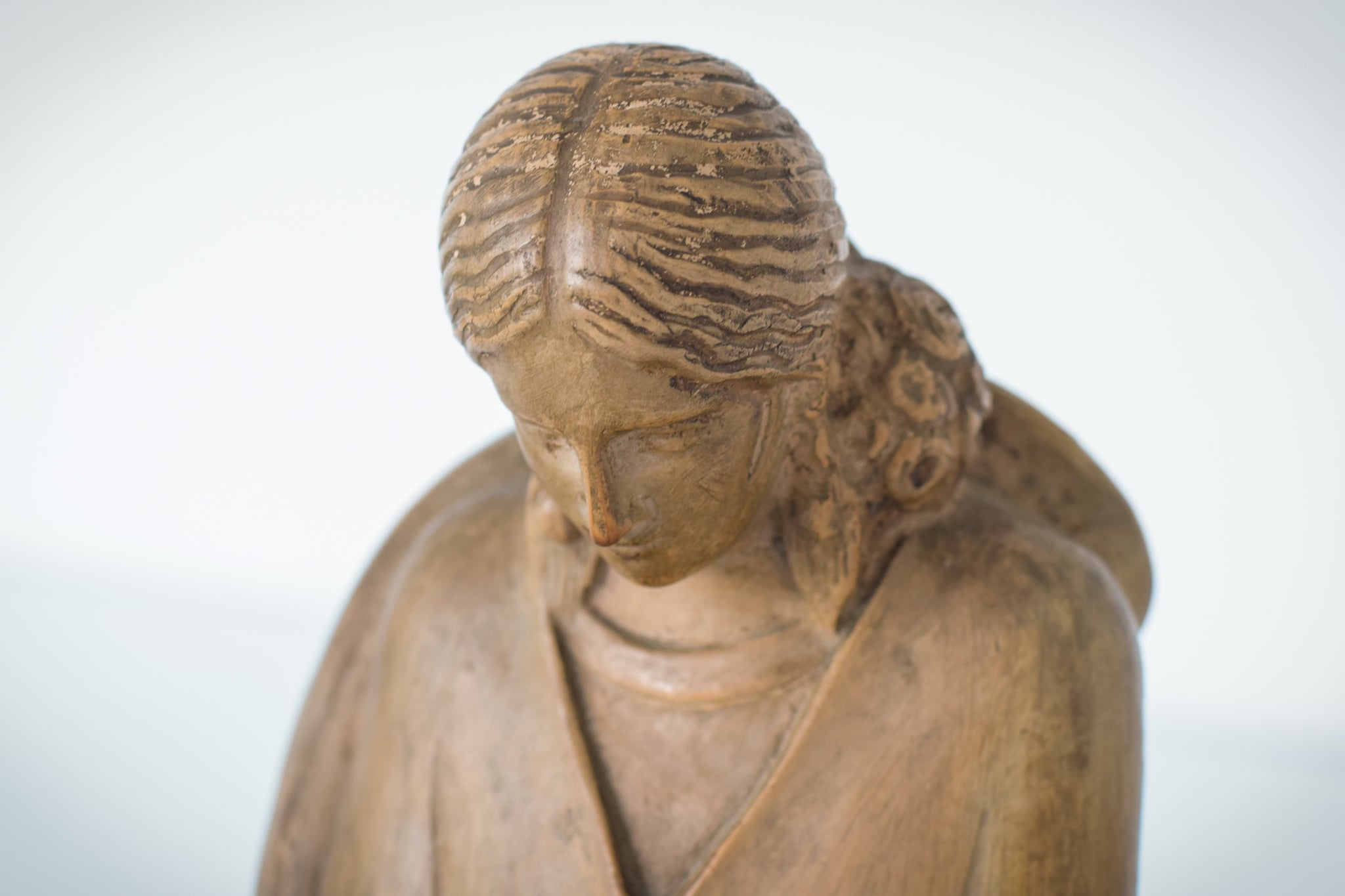 Terracotta Sculpture of A Draped Seated Woman_Detail