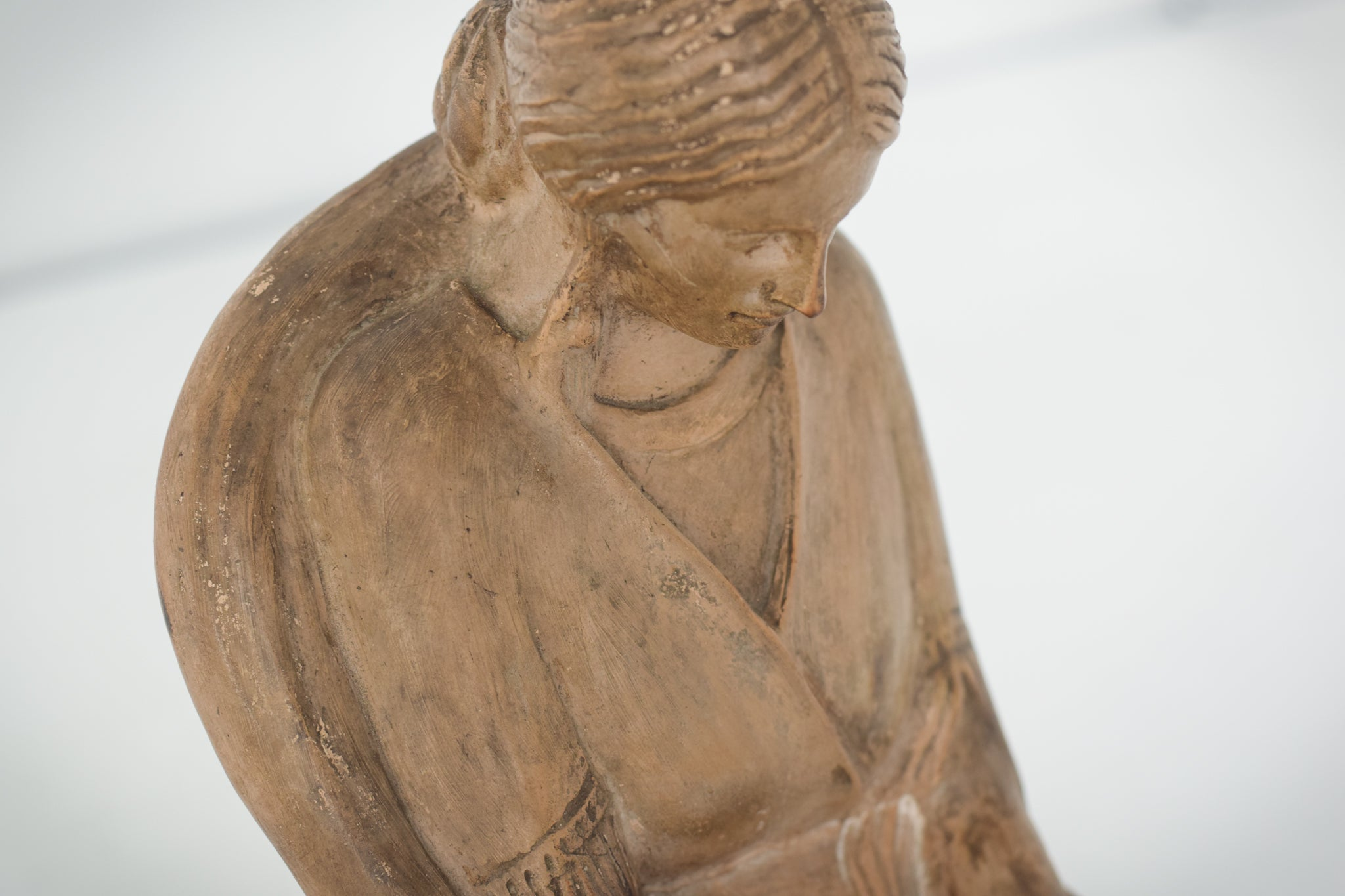 Terracotta Sculpture of A Draped Seated Woman_Detail 2